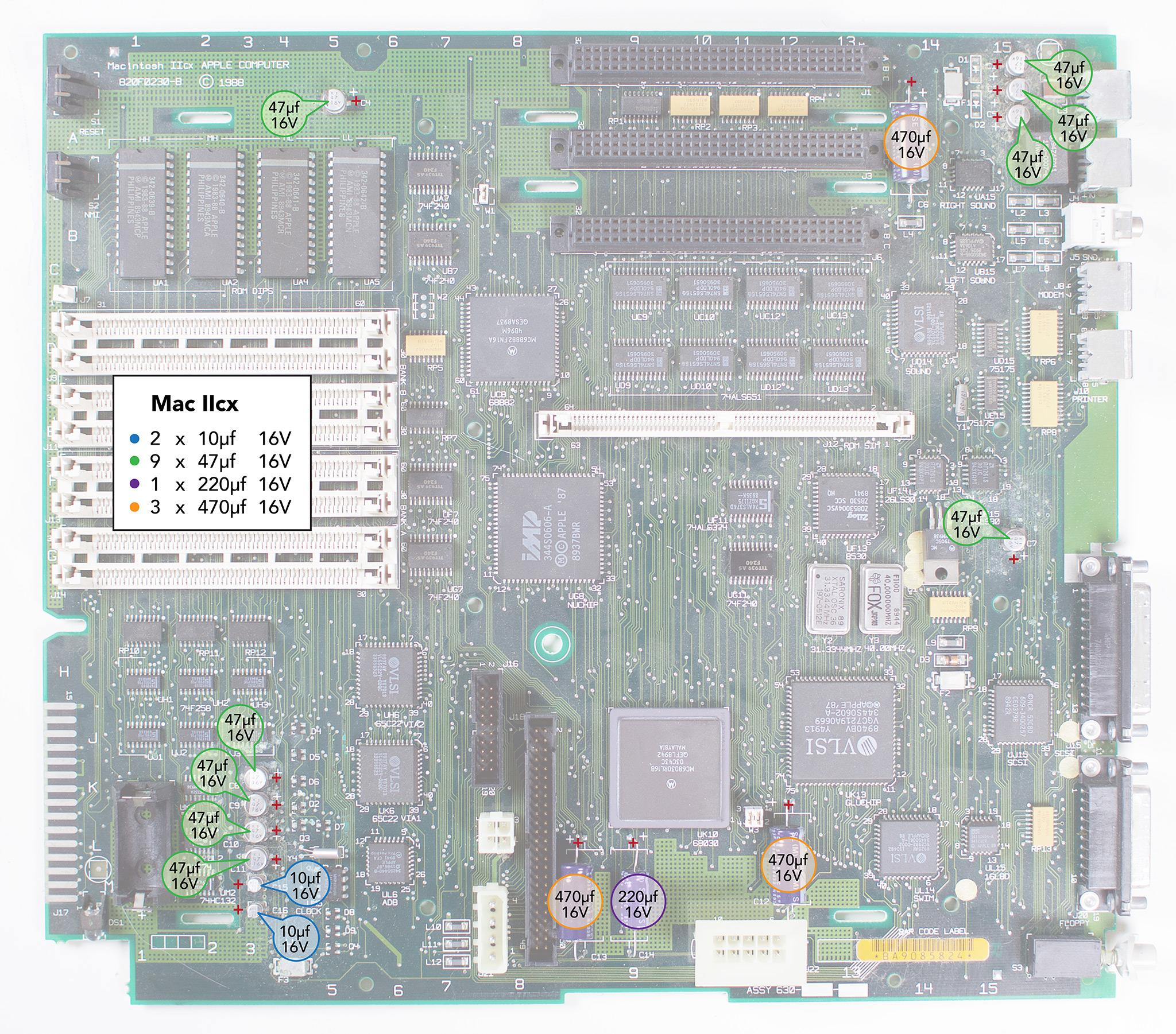 Macintosh IIcx Recapping Guide